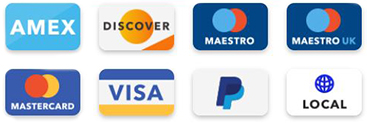 We accept Paypal, Mastercard, Visa, Maestro, Discover, Local and Amex